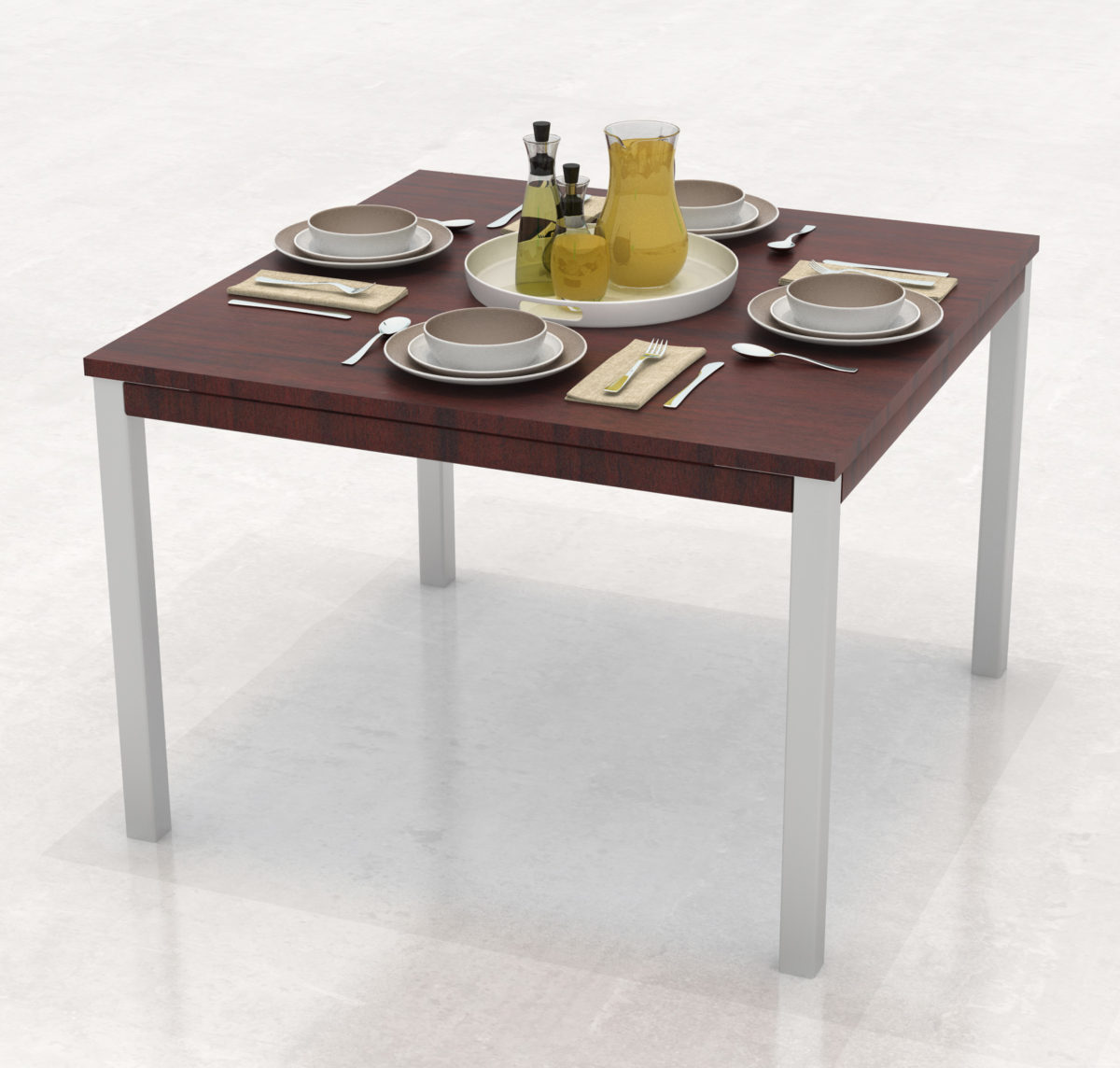 Laminate Top Steel Post Leg Dining Table With Skirt Intellicare Furniture